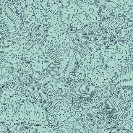 Fairgrounds mehendi pattern in style, the colors like this used for curtains, table cloths, neutral dresses. Suitable for scarves, bed linen and clothes. Seamless texture, handmade. Curved lines.