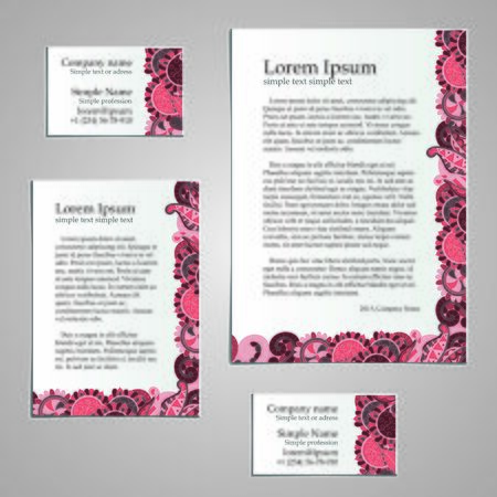 a6: Handmade business tracery card design, set composed of two business cards aspect ratio 85x55 and 90x50, sheets A5 and A6 format. Corporate colors and natural motifs. Illustration