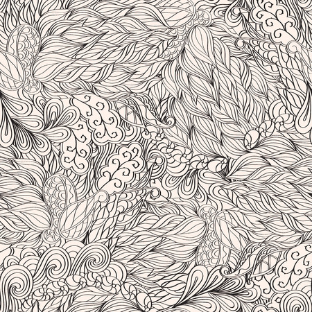 scarves: Fairgrounds pattern in style mehendi , maybe used for curtains, table cloths, neutral dresses. Suitable for scarves, bed linen and clothes. Seamless texture, handmade. Curved lines.