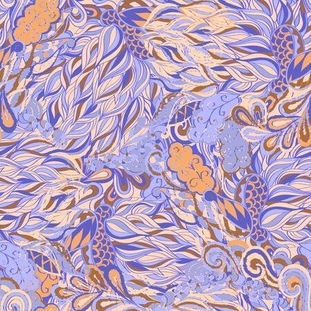 scarves: Fairgrounds mehendi pattern in style, the colors like this used for curtains, table cloths, neutral dresses. Suitable for scarves, bed linen and clothes. Seamless texture, handmade. Curved lines.