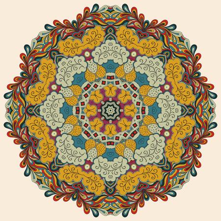 Mehndi mandala tracery wheel design. Handmade natural mood texture. Paisley, winding stem, lotus flower, bud mehndi doodle. Curved lines, doodling design. Good for plates, dish, tableware.