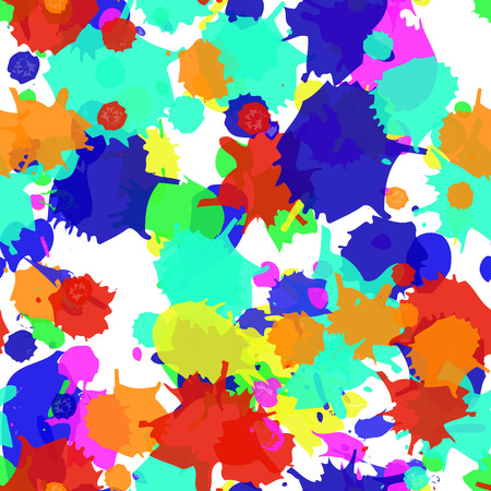 Seamless blots texture. Colorful vector ink spots, digital imitation of the traditional style. Good for the fairs, childrens goods, festive decoration, events, as background. Paint stains.