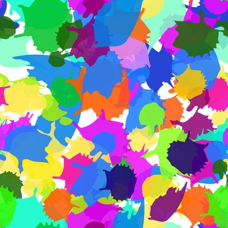 traditional events: Seamless blots texture. Colorful vector ink spots, digital imitation of the traditional style. Good for the fairs, childrens goods, festive decoration, events, as background. Paint stains.