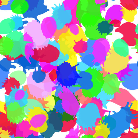 fairs: Seamless blots texture. Colorful vector ink spots, digital imitation of the traditional style. Good for the fairs, childrens goods, festive decoration, events, as background. Paint stains.