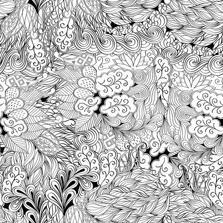 nodules: Tracery seamless, loops, doodle wind pattern. Paisley, winding stem, spiral, wave, bud mehndi design. Handmade texture, curved doodling design. Good for site background, textile, printing. Vector.