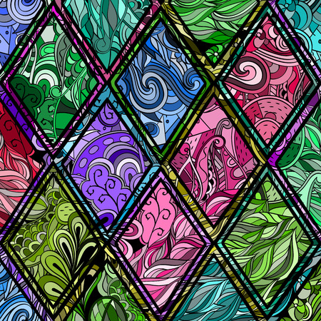unpredictable: Tracery loops, doodle wind pattern in the style of stained glass. Mehendi paisley, stem, spiral, wave, bud mehndi design. Handmade doodling design. For site background, printing. Vector. Illustration