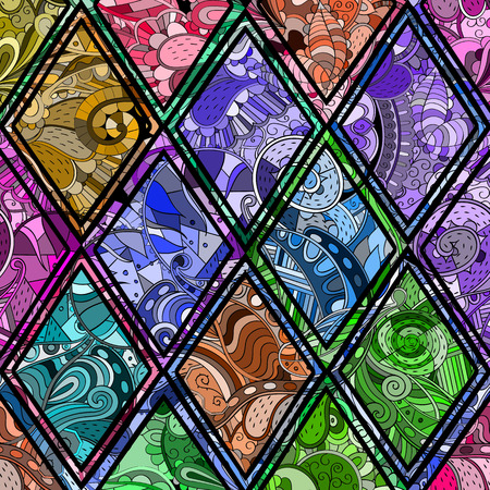 nodules: Tracery loops, doodle wind pattern in the style of stained glass. Mehendi paisley, stem, spiral, wave, bud mehndi design. Handmade doodling design. For site background, printing. Vector. Illustration