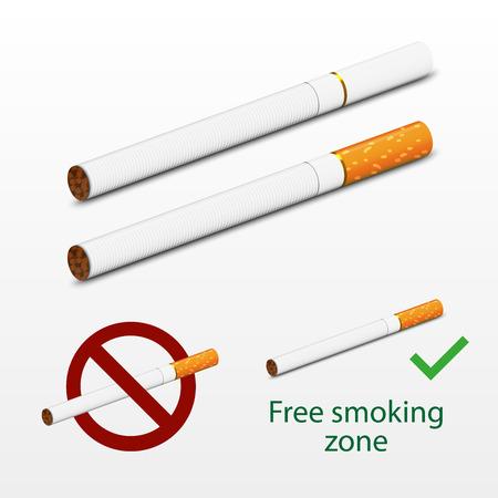 humo: Cigarrillos fotorrealista del vector. Dise�o de imitaci�n 3d. Incluyendo dos cigarrillos - l�nea blanca y marr�n, los signos m�s totalmente gratis y no fume. Los cigarrillos de imitaci�n realista.