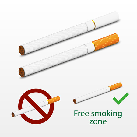 cigar smoke: Photorealistic cigarettes vector. 3d imitation design. Including two cigarettes - white and brown, signs Free smoking and Dont Smoke. Cigarettes realistic imitation. Illustration