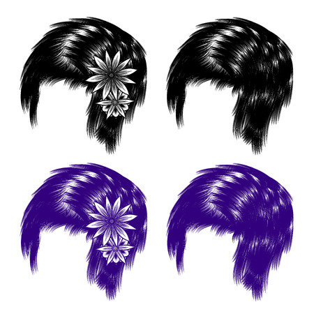 wigs: Realistic vector hair, hairstyles, wigs. It includes lotus flowers. Isolated objects, tracery handmade. Black and white binary monochrome.