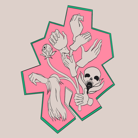 corpses: Abstract doodling design. Tree which grows hand.