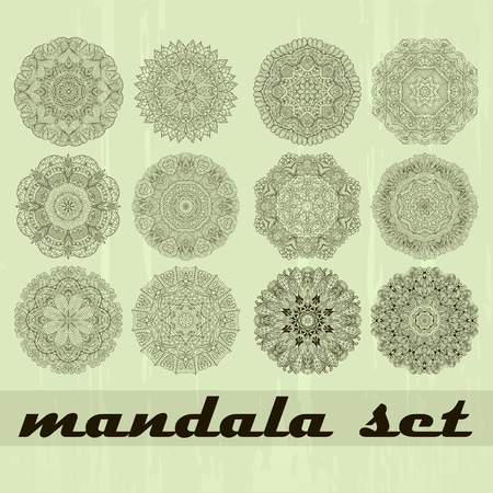bracing: Ray edge mandala set wheel mehendi design. Tracery calming ornament. Neat even binary harmonious doodle texture. Indifferent discreet. Ambitious bracing usable doodling mehndi pattern. Vector.