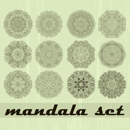 edge design: Ray edge mandala set wheel mehendi design. Tracery calming ornament. Neat even binary harmonious doodle texture. Indifferent discreet. Ambitious bracing usable doodling mehndi pattern. Vector.