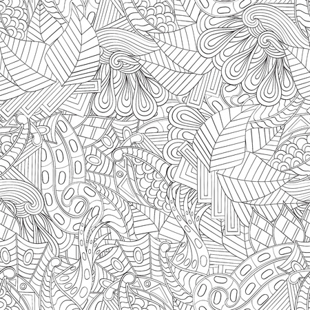 nodules: Tracery seamless, loops, doodle wind pattern. Paisley, winding stem, spiral, wave, bud mehndi design. Handmade texture, curved, black and white. Good for site background, textile, printing. Vector. Illustration