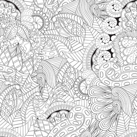 uneven: Tracery seamless, loops, doodle wind pattern. Paisley, winding stem, spiral, wave, bud mehndi design. Handmade texture, curved, black and white. Good for site background, textile, printing. Vector. Illustration