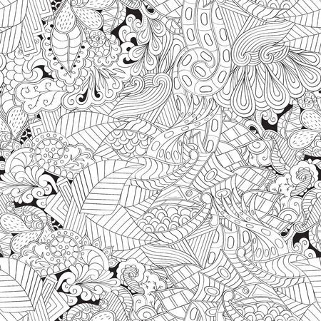 unpredictable: Tracery seamless, loops, doodle wind pattern. Paisley, winding stem, spiral, wave, bud mehndi design. Handmade texture, curved, black and white. Good for site background, textile, printing. Vector. Illustration