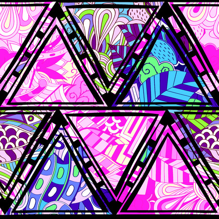 nodules: Tracery seamless, loops, doodle wind pattern in the style of stained glass. Paisley, winding stem, spiral, wave, bud mehndi design. Handmade doodling design. For site background, printing. Vector. Illustration
