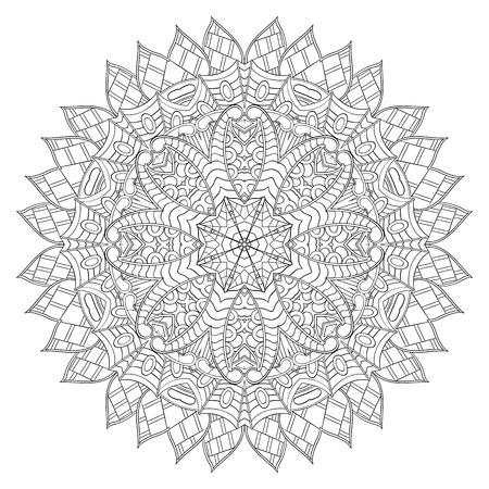 nodules: Mehndi mandala tracery wheel design. Handmade natural mood texture. Paisley, winding stem, bud mehndi doodle. Curved lines, doodling design. Good for plates, dish, tableware. Illustration