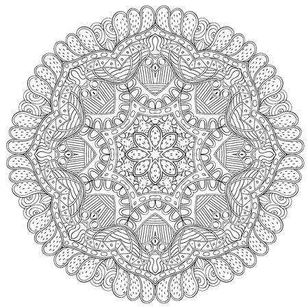 nodules: Mehndi mandala tracery wheel design. Handmade natural mood texture. Paisley, winding stem, bud mehndi doodle. Curved lines, doodling design. Good for plates, dish, tableware. Illustration