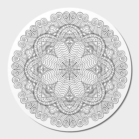 nodules: Mehndi mandala tracery wheel design. Handmade natural mood texture. Paisley, winding stem, bud mehendi doodle. Curved lines, doodling design. Good for plates, dish, tableware. Vector. Illustration