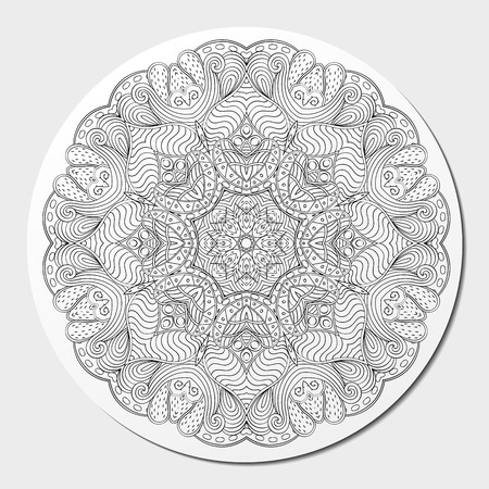 nodules: Mehndi mandala tracery wheel design. Handmade natural mood texture. Paisley, winding stem, bud mehendi doodle. Curved lines, doodling design. Good for plates, dish, tableware. Vector. Illustration