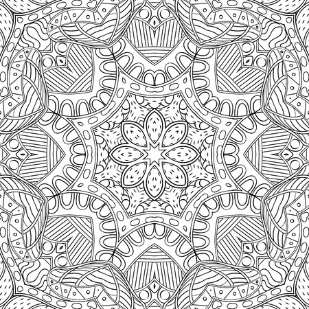 wind wheel: Handmade tracery carpet texture, seamless. Hand-drawn curved lines, loops, doodling tile design. Asian mehndi style.  For textile, printing, building materials, plates, dish, tableware. Vector.