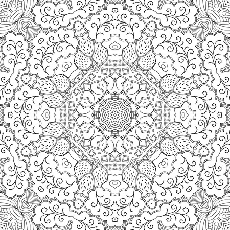 Handmade tracery carpet texture, seamless. Hand-drawn curved lines, loops, doodling tile design. Asian mehndi style.  For textile, printing, building materials, plates, dish, tableware. Vector.