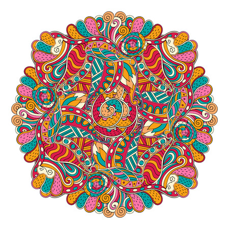 unpredictable: Mehndi mandala tracery wheel design. Handmade natural mood texture. Paisley, winding stem, bud mehendi doodle. Curved lines, doodling design. Good for plates, dish, tableware. Vector. Illustration
