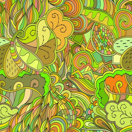 unpredictable: Tracery seamless, loops, doodle wind pattern. Mehendi paisley, stem, spiral, wave. Bud mehndi design. Handmade texture, curved doodling design. Good for site background, textile, printing. Vector. Illustration