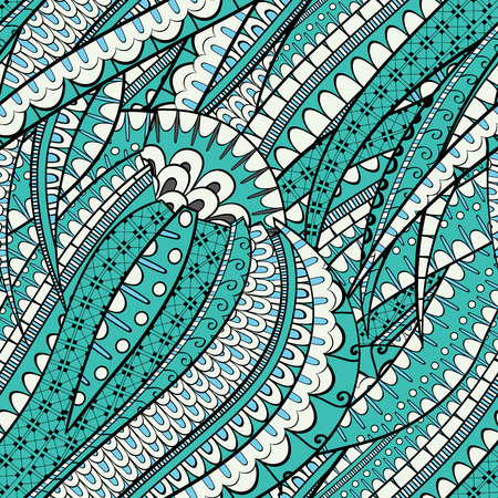 nodules: Tracery seamless, loops, doodle wind pattern. Mehendi tentacles. mehndi design. Handmade wave texture, curved doodling design. Good for site background, textile, printing. Vector. Illustration