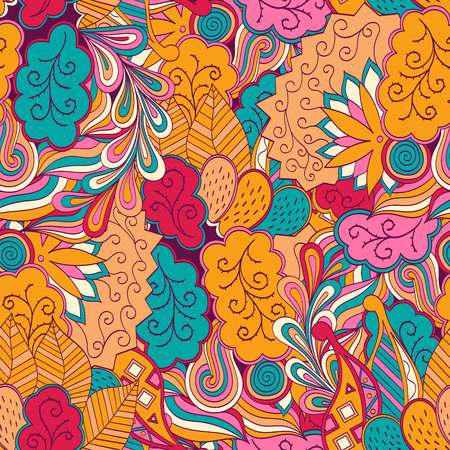 uneven: Tracery seamless, loops, doodle wind pattern. Mehendi paisley, stem, spiral, wave. Bud mehndi design. Handmade texture, curved doodling design. Good for site background, textile, printing. Vector. Illustration