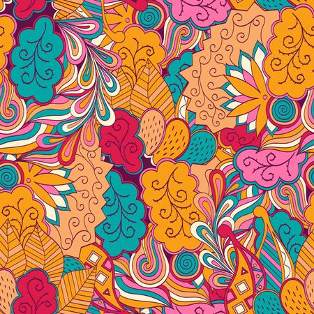 mehendi: Tracery seamless, loops, doodle wind pattern. Mehendi paisley, stem, spiral, wave. Bud mehndi design. Handmade texture, curved doodling design. Good for site background, textile, printing. Vector. Illustration