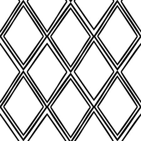 Seamless tracery geometry ornament. Rhombus repeatable pattern. Black and white binary template. Hand-drawn rough curved rhomb backdrop texture. Vector.