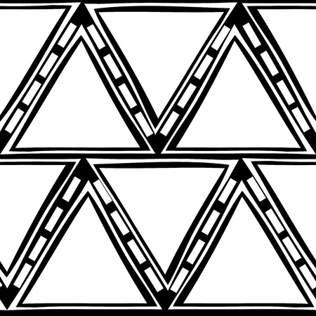 semblance: Seamless tracery geometry ornament. Triangle repeatable pattern. Black and white binary template. Hand-drawn rough curved triangle backdrop texture. Vector.