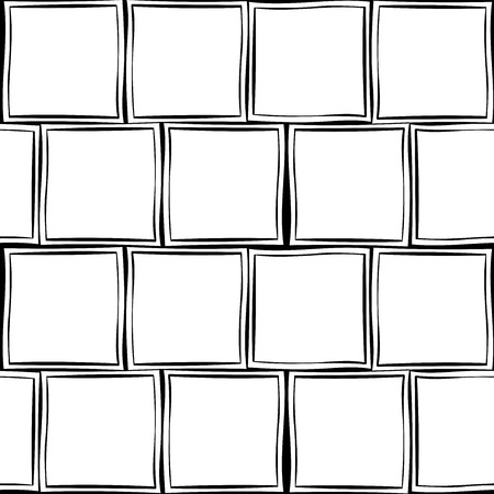 semblance: Seamless tracery geometry ornament. Squares repeatable pattern. Black and white binary template. Hand-drawn rough curved squares backdrop texture. Vector.