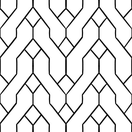 semblance: Seamless tracery geometry ornament. Pigtails repeatable pattern. Black and white binary template. Hand-drawn lines and rails, uneven, curve backdrop texture. Stranded, wavy stripes. Vector.