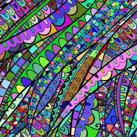 exposed: Tracery calming pattern. Mehendi design. Neat even colorful harmonious doodle texture. Silt algae, sea motif, tentacles. Ambitious, bracing, usable curved doodling mehndi. Vector.