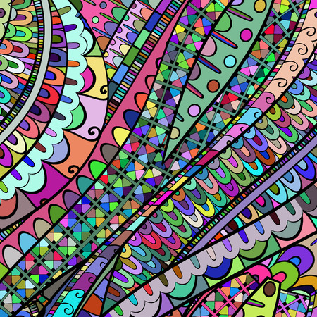 neat: Tracery calming pattern. Mehendi design. Neat even colorful harmonious doodle texture. Silt algae, sea motif, tentacles. Ambitious, bracing, usable curved doodling mehndi. Vector.