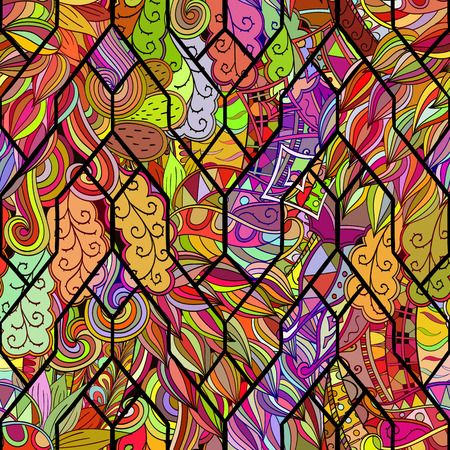 bracing: Tracery calming pattern. Mehendi design. Neat even colorful harmonious doodle texture in the style of stained glass. Algae sea motif. Ambitious bracing usable, curved doodling mehndi. Vector.