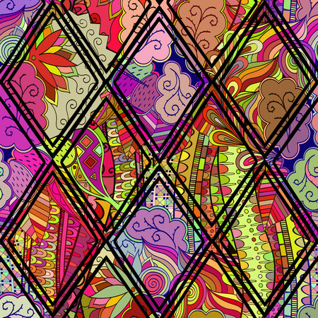 harmonious: Tracery calming pattern. Mehendi design. Neat even colorful harmonious doodle texture in the style of stained glass. Algae sea motif. Ambitious bracing usable, curved doodling mehndi. Vector.
