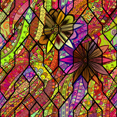 exposed: Tracery calming pattern. Mehendi design. Neat even colorful harmonious doodle texture in the style of stained glass. Algae sea motif. Ambitious bracing usable, curved doodling mehndi. Vector.