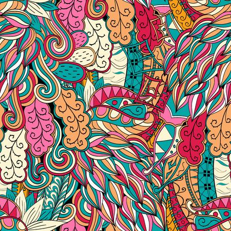 discreto: Tracería sin fisuras patrón de color naranja que calma con el azul y el rojo. Diseño Mehendi. Neat incluso textura colorida del doodle armonioso. Indiferente discreta. Ambicioso arriostramiento utilizable, mehndi garabatos curva. Vector. Vectores