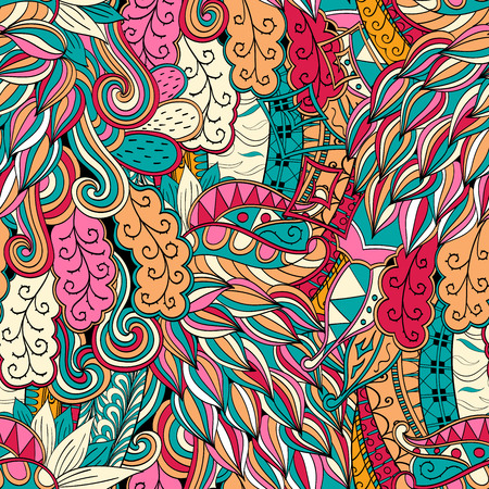 frilly: Tracery seamless calming orange pattern with blue and red. Mehendi design. Neat even colorful harmonious doodle texture. Indifferent discreet. Ambitious bracing usable, curved doodling mehndi. Vector.