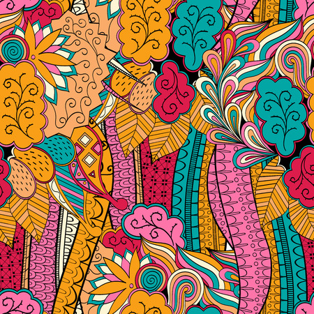 fullness: Tracery seamless calming orange pattern with blue and red. Mehendi design. Neat even colorful harmonious doodle texture. Indifferent discreet. Ambitious bracing usable, curved doodling mehndi. Vector.