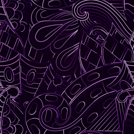neat: Tracery neon glow pattern. Mehendi design. Neat even violet harmonious doodle texture. Ambitious bracing usable, curved doodling mehndi. Vector.