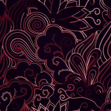 usable: Tracery neon glow pattern. Mehendi design. Neat even red harmonious doodle texture. Ambitious bracing usable, curved doodling mehndi. Vector.