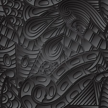 discreto: TRACERY patrón negro calmante sin fisuras. mehendi diseño. Neat textura del doodle incluso armoniosa. Ambicioso refuerzo hecha a mano utilizable, discreta mehndi garabatos curvada. Indiferente motivo se desvaneció. Vector.