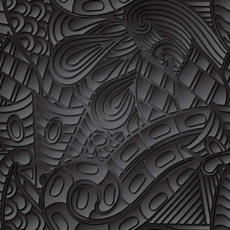 discreet: Tracery seamless calming black pattern. Mehendi design. Neat even harmonious doodle texture. Ambitious bracing usable handmade, discreet curved doodling mehndi. Indifferent faded motif. Vector. Illustration