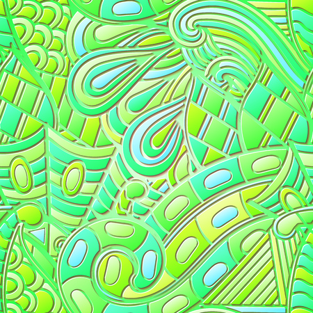 metaphorical: Tracery seamless calming green pattern. Mehendi design. Neat even harmonious doodle texture. Ambitious bracing usable handmade, discreet curved doodling mehndi. Indifferent faded motif. Vector.
