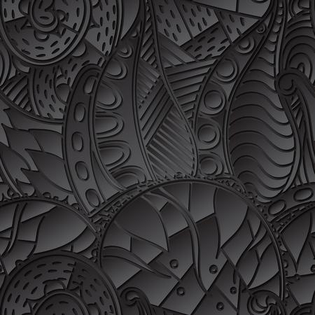 discreto: TRACERY patr�n negro calmante sin fisuras. mehendi dise�o. Neat textura del doodle incluso armoniosa. Ambicioso refuerzo hecha a mano utilizable, discreta mehndi garabatos curvada. Indiferente motivo se desvaneci�. Vector.